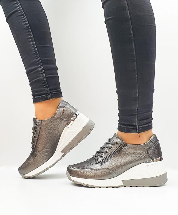 Pantofi Casual Dama Piele Naturala Gri Koorine D02639 0