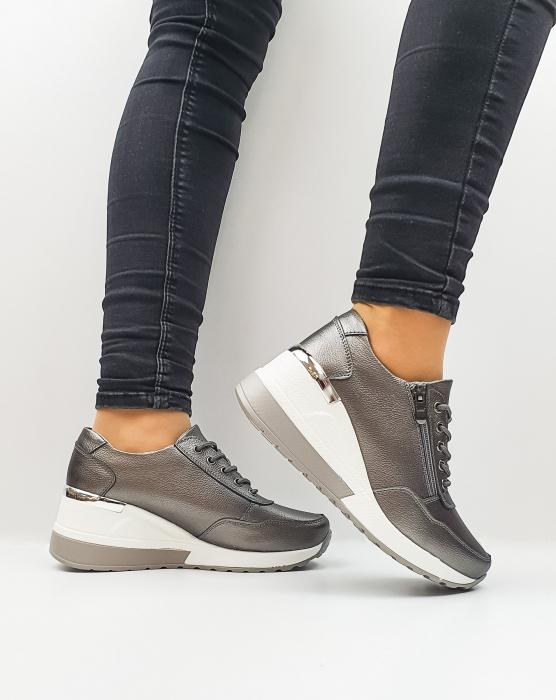 Pantofi Casual Dama Piele Naturala Gri Koorine D02639 1