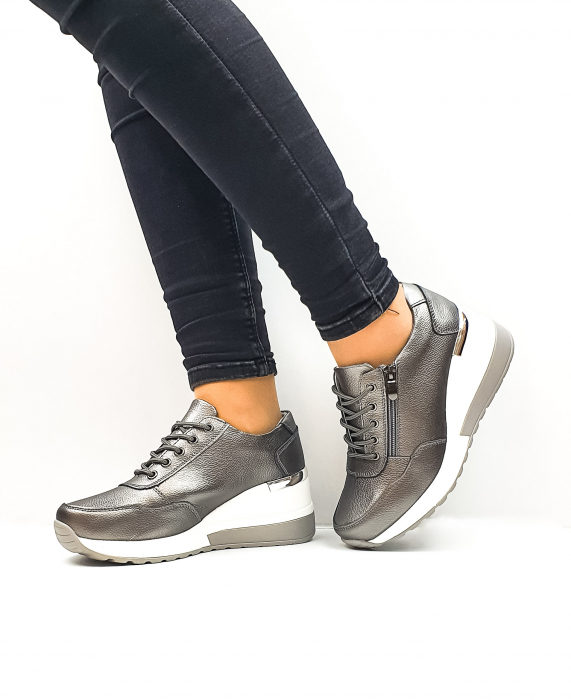 Pantofi Casual Dama Piele Naturala Gri Koorine D02639 2