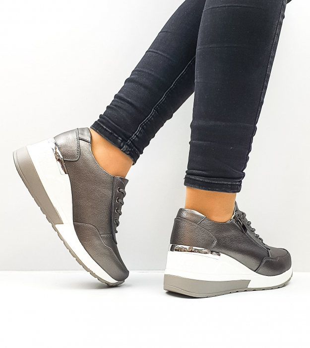 Pantofi Casual Dama Piele Naturala Gri Koorine D02639 3