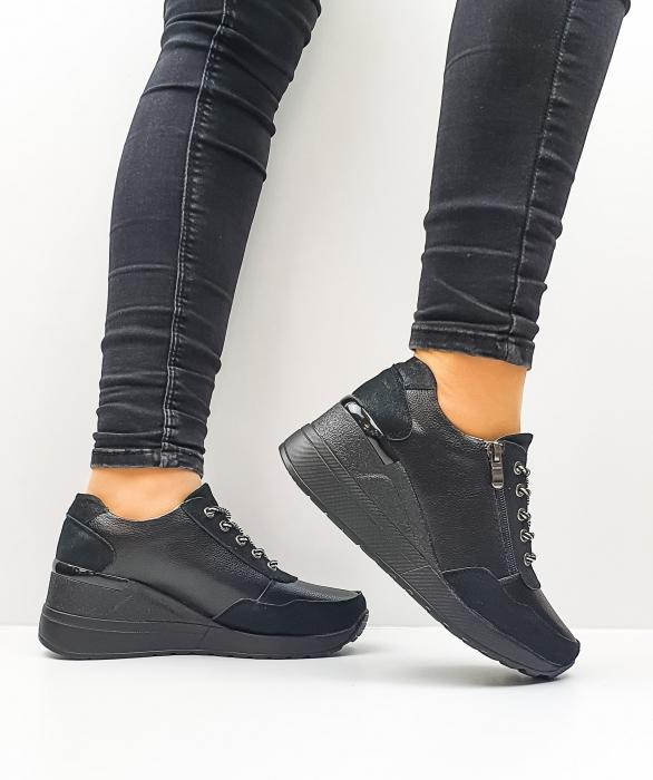 Pantofi Casual Piele Naturala Negri Koorine D02641 1