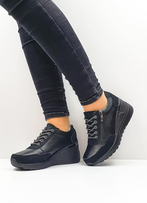 Pantofi Casual Piele Naturala Negri Koorine D02641 2