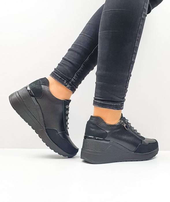 Pantofi Casual Piele Naturala Negri Koorine D02641 3