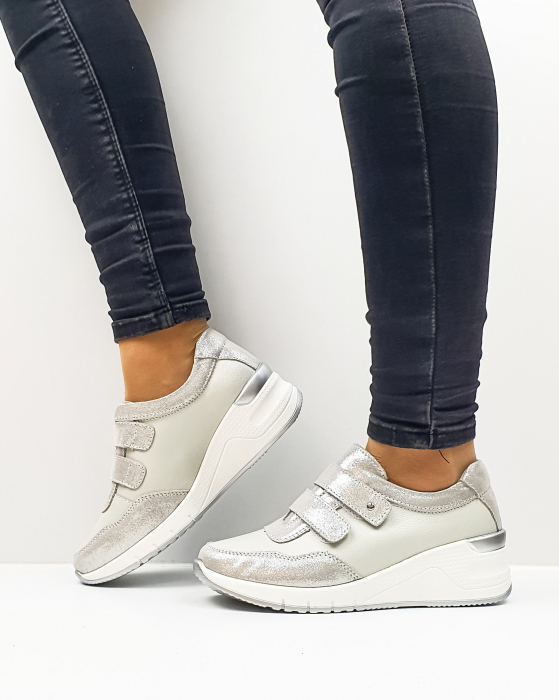 Pantofi Casual Dama Piele Naturala Argintii Coorah 0