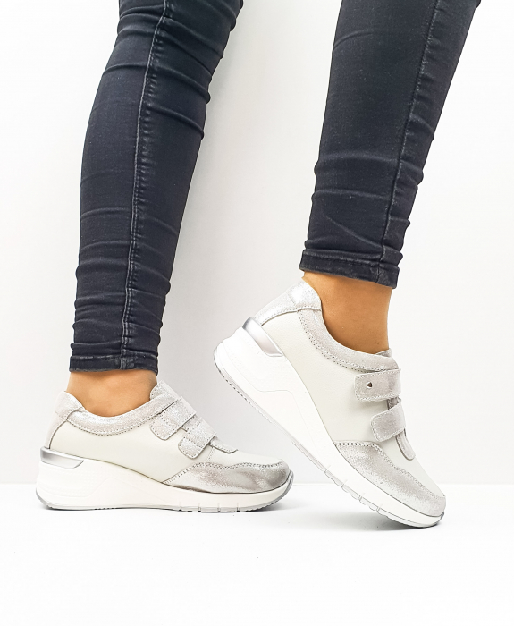 Pantofi Casual Dama Piele Naturala Argintii Coorah 1