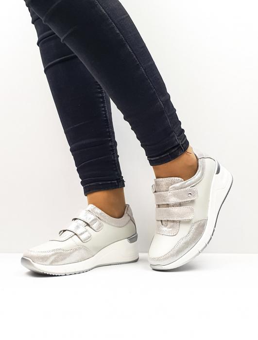 Pantofi Casual Dama Piele Naturala Argintii Coorah 2