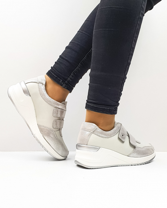 Pantofi Casual Dama Piele Naturala Argintii Coorah 3