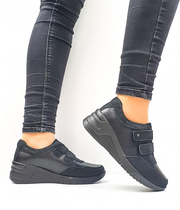 Pantofi Casual Dama Piele Naturala Negri Coorah D02643 1