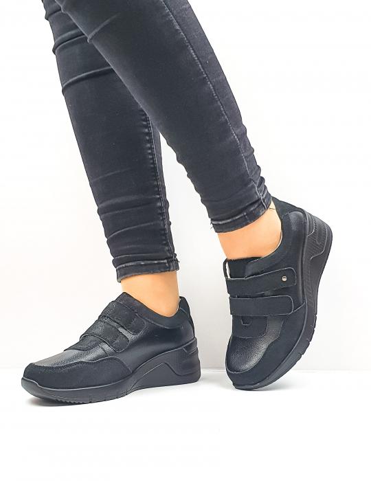 Pantofi Casual Dama Piele Naturala Negri Coorah D02643 2