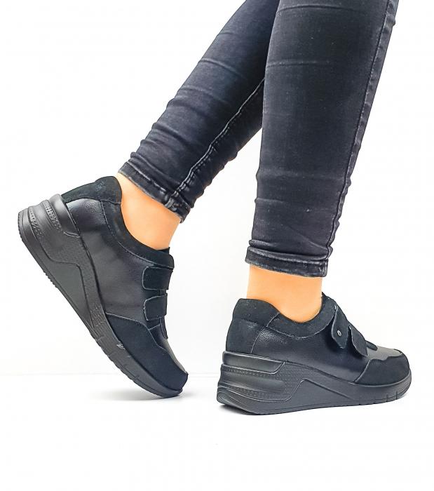 Pantofi Casual Dama Piele Naturala Negri Coorah D02643 3