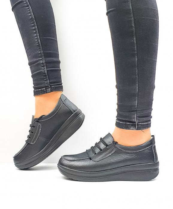 Pantofi Casual Dama Piele Naturala Negri Epifania D02645 2