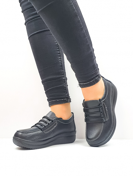 Pantofi Casual Dama Piele Naturala Negri Epifania D02645 3