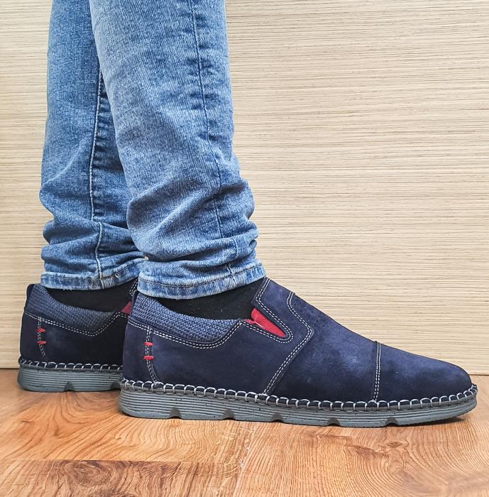 Pantofi Casual Barbati Piele Naturala Bleumarin Ethan B00098 3