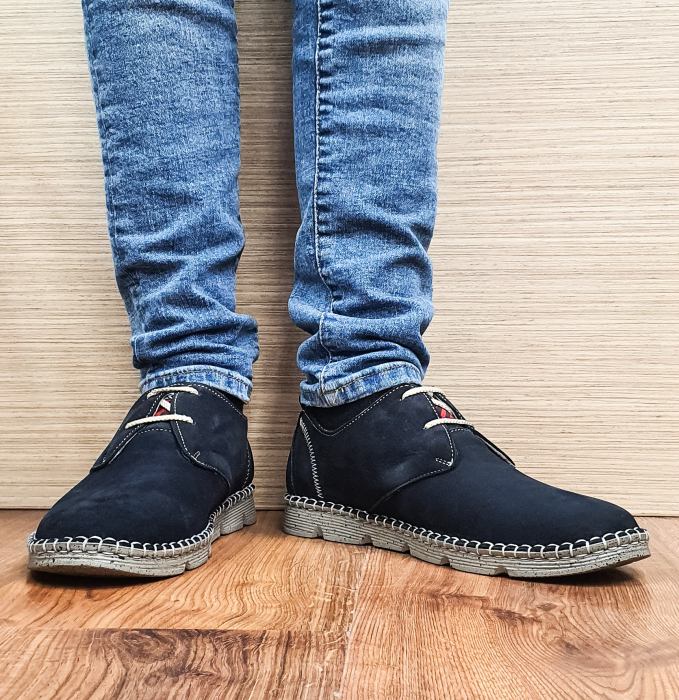 Pantofi Casual Barbati Piele Naturala Bleumarin Elisei B00097 2
