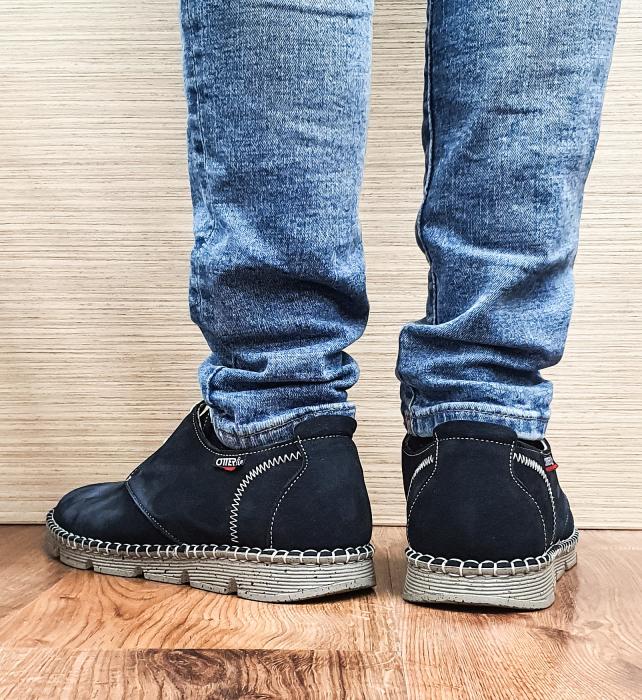 Pantofi Casual Barbati Piele Naturala Bleumarin Elisei B00097 3