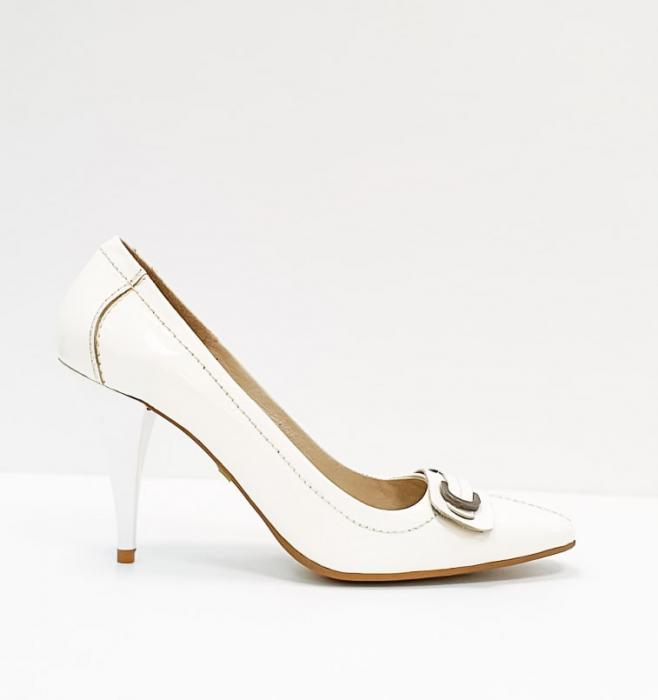 Pantofi cu toc Piele Naturala Albi Luxia D02664 0