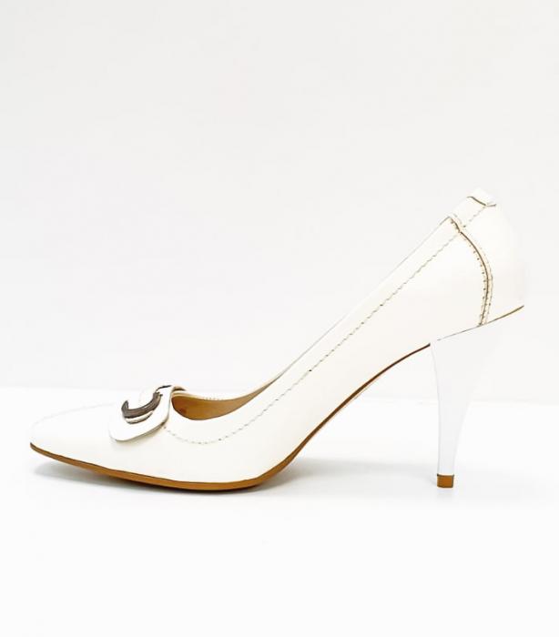 Pantofi cu toc Piele Naturala Albi Luxia D02664 1