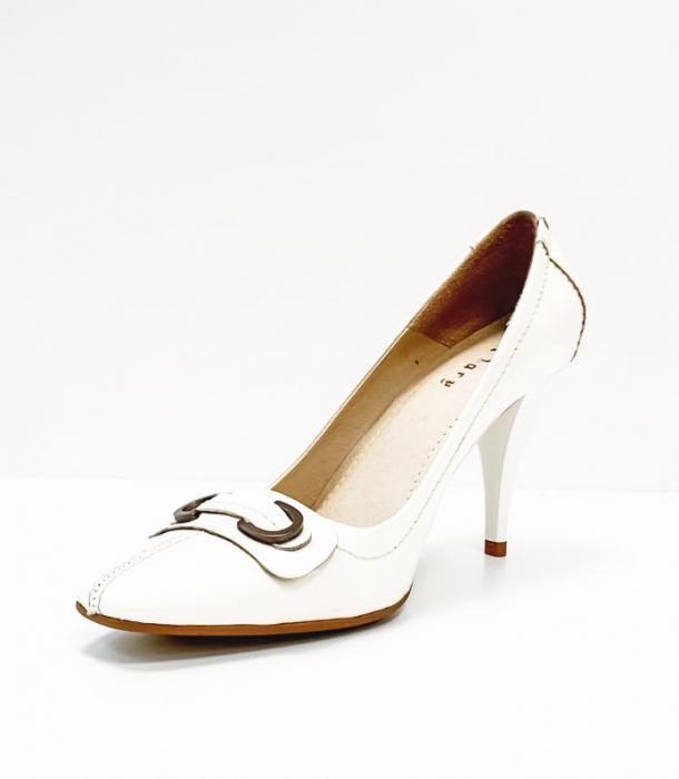 Pantofi cu toc Piele Naturala Albi Luxia D02664 2