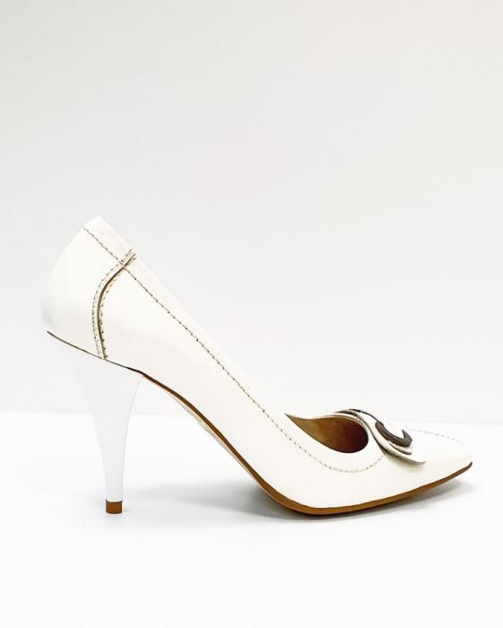 Pantofi cu toc Piele Naturala Albi Luxia D02664 3