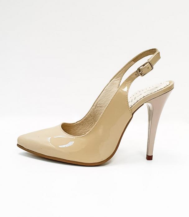 Pantofi Dama Piele Naturala Nude Amona D02665 2