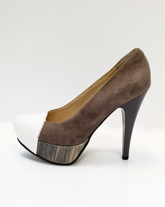 Pantofi cu toc Piele Naturala Gri Anelisse D02675 1