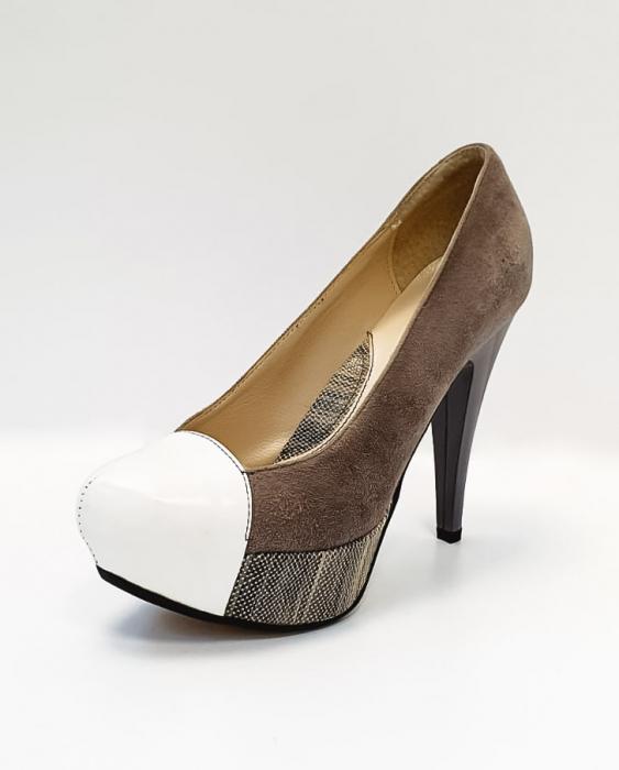 Pantofi cu toc Piele Naturala Gri Anelisse D02675 2