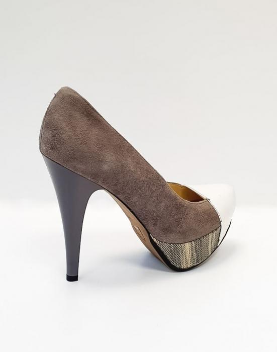Pantofi cu toc Piele Naturala Gri Anelisse D02675 3
