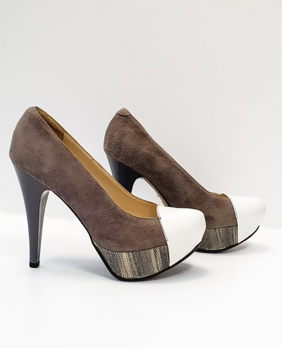 Pantofi cu toc Piele Naturala Gri Anelisse D02675 4