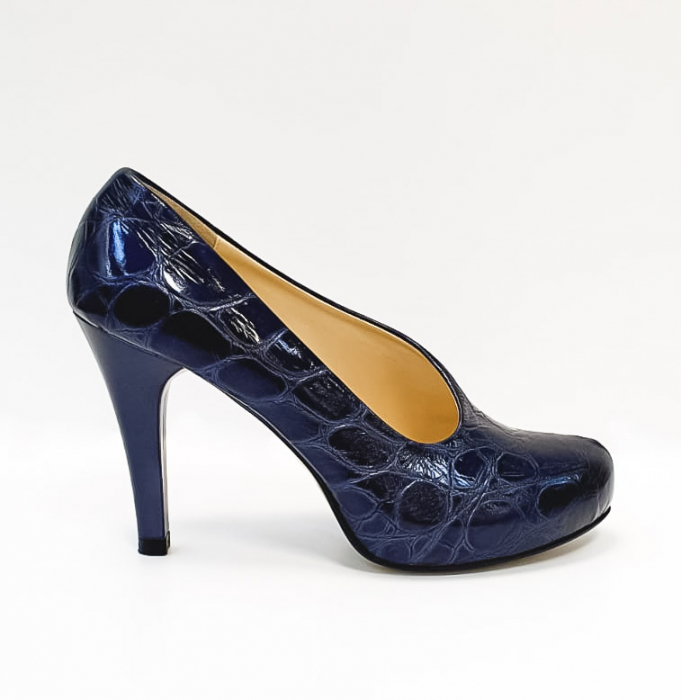Pantofi cu toc Piele Naturala Albastri Sia D02676 0