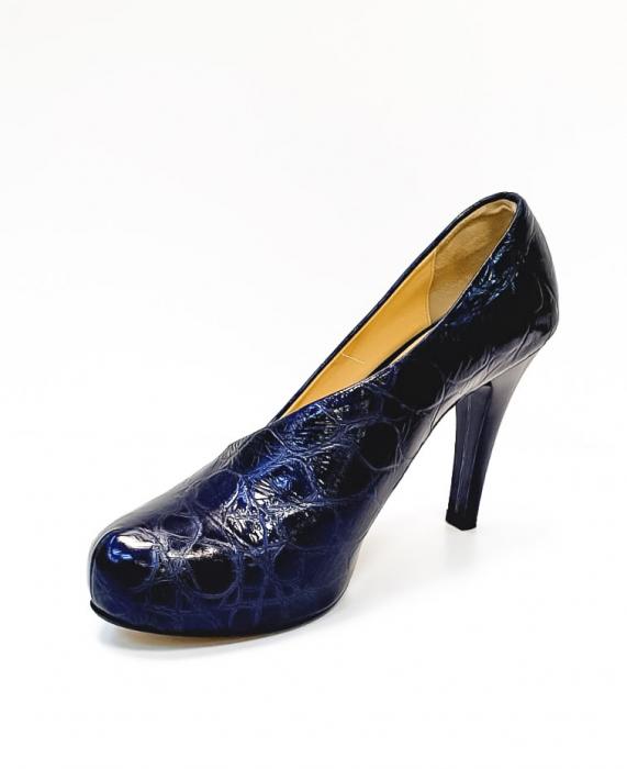 Pantofi cu toc Piele Naturala Albastri Sia D02676 2