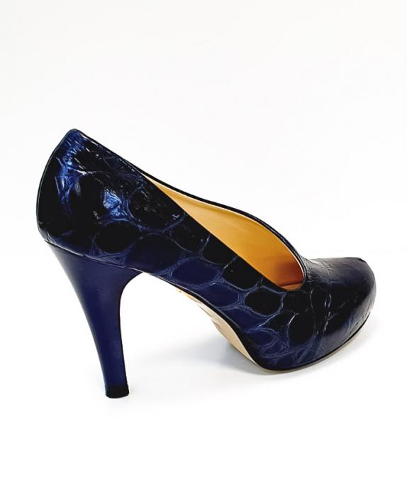 Pantofi cu toc Piele Naturala Albastri Sia D02676 3