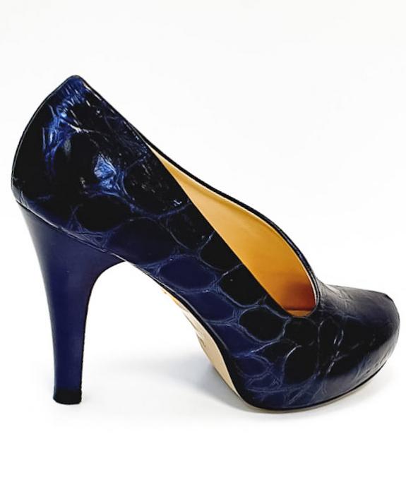 Pantofi cu toc Piele Naturala Albastri Sia D02676 4