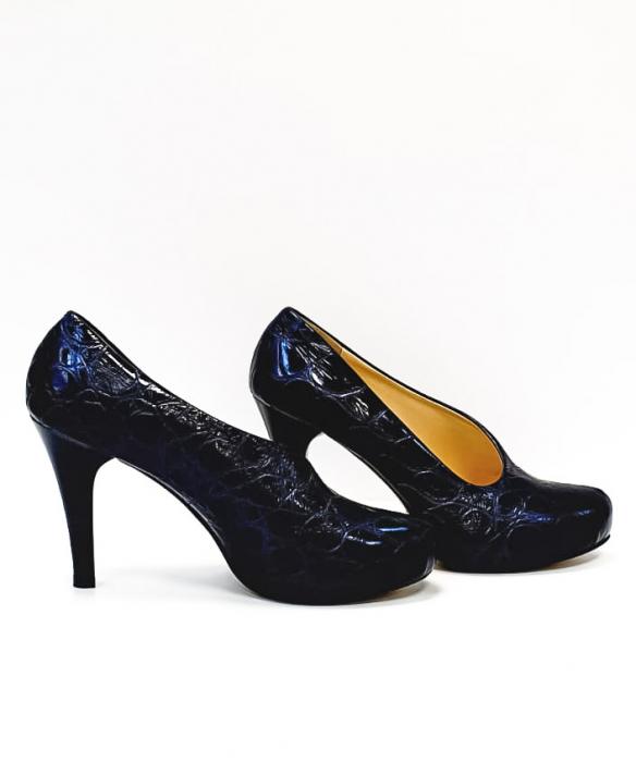 Pantofi cu toc Piele Naturala Albastri Sia D02676 5