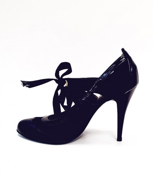 Pantofi cu toc Piele Naturala Albastri Anne D02677 1