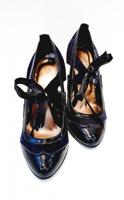 Pantofi cu toc Piele Naturala Albastri Anne D02677 4
