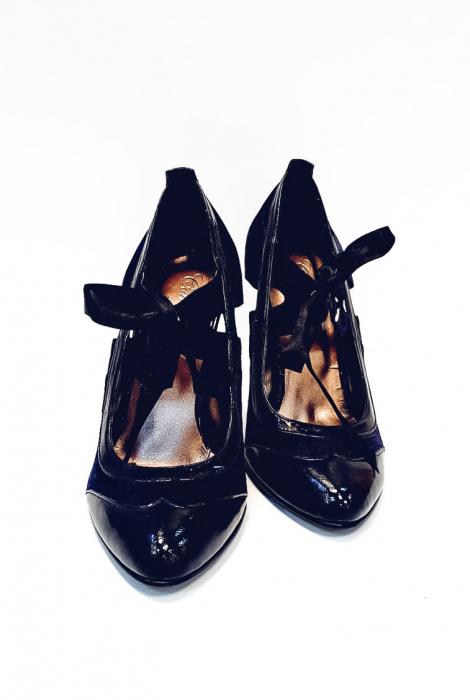 Pantofi cu toc Piele Naturala Albastri Anne D02677 5