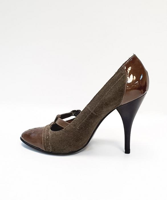 Pantofi cu toc Piele Naturala Corvaris Gri Licia D02678 1