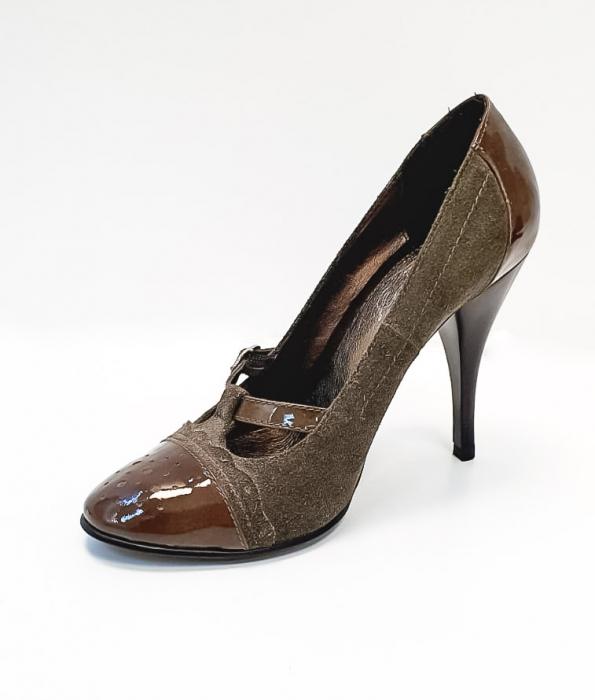 Pantofi cu toc Piele Naturala Corvaris Gri Licia D02678 2