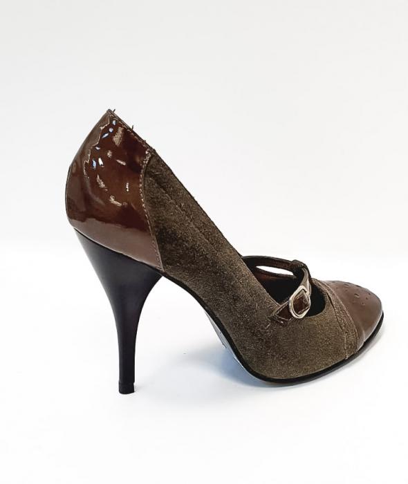 Pantofi cu toc Piele Naturala Corvaris Gri Licia D02678 3