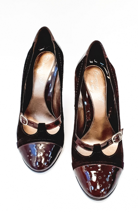 Pantofi cu toc Piele Naturala Corvaris Maro Cerma D02679 4