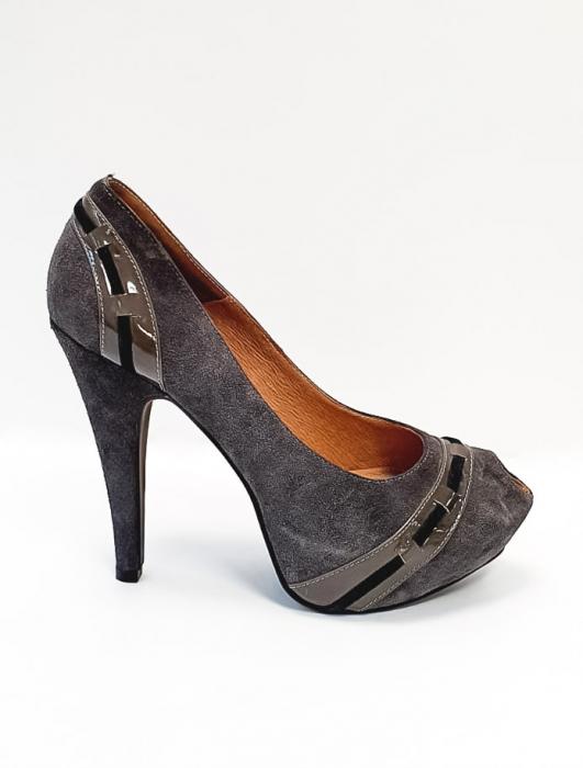 Pantofi cu toc Piele Naturala Corvaris Gri Rupa D02682 0