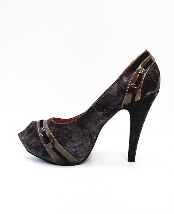 Pantofi cu toc Piele Naturala Corvaris Gri Rupa D02682 1