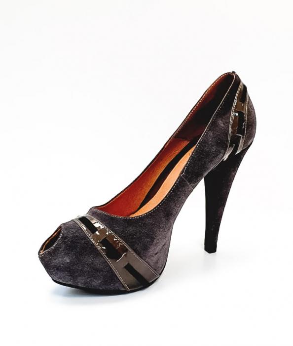 Pantofi cu toc Piele Naturala Corvaris Gri Rupa D02682 2