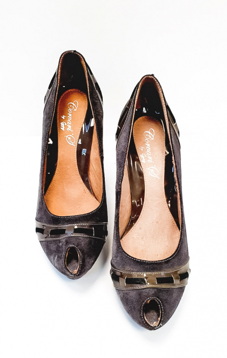Pantofi cu toc Piele Naturala Corvaris Gri Rupa D02682 4
