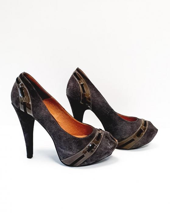 Pantofi cu toc Piele Naturala Corvaris Gri Rupa D02682 5