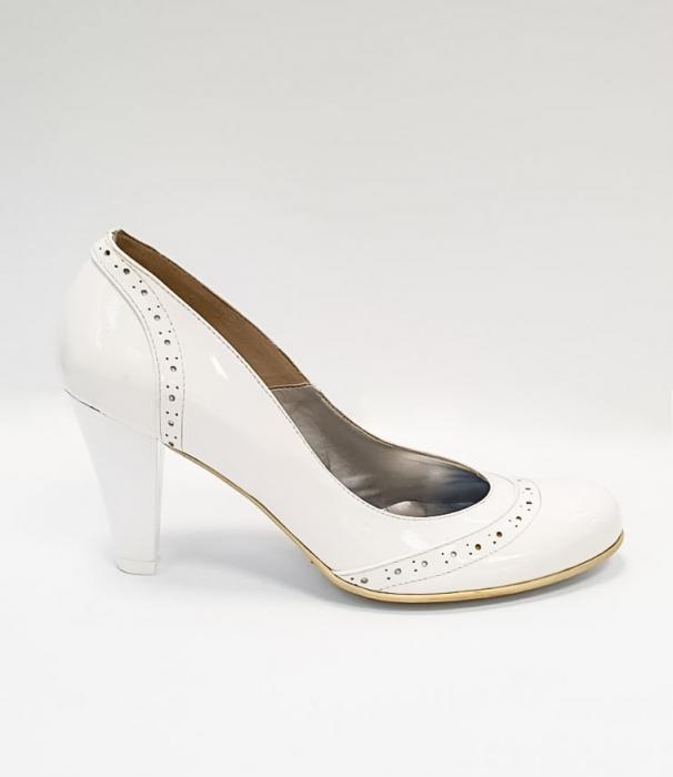 Pantofi cu toc Piele Naturala Albi Ica D02683 0