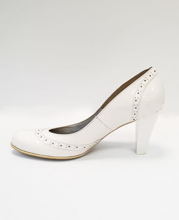 Pantofi cu toc Piele Naturala Albi Ica D02683 1