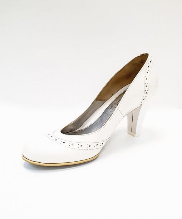 Pantofi cu toc Piele Naturala Albi Ica D02683 2