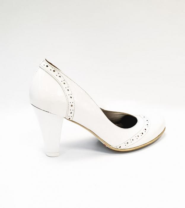 Pantofi cu toc Piele Naturala Albi Ica D02683 3