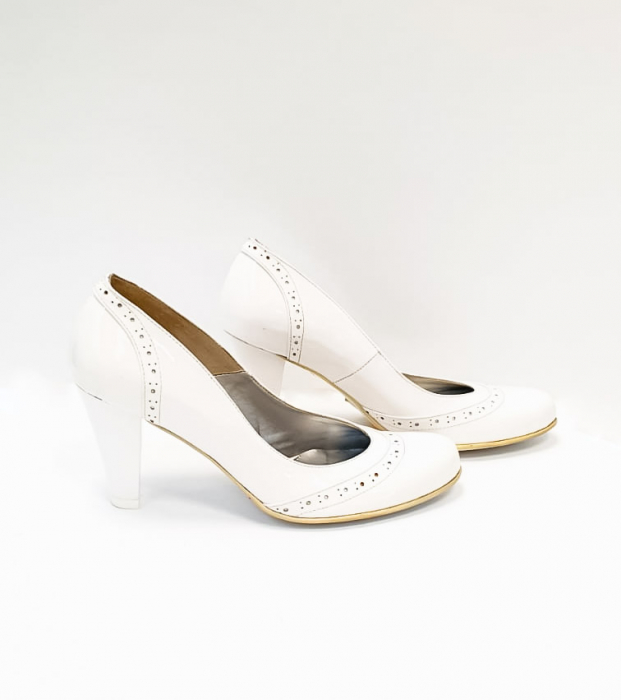 Pantofi cu toc Piele Naturala Albi Ica D02683 4